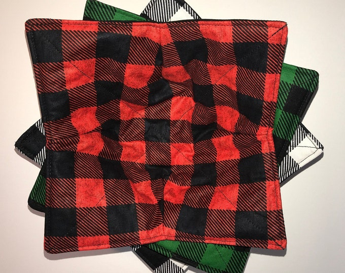 Microwavable bowl cozie, Christmas, Buffalo Plaid, Red, Black, Green Buffalo Plaid,  Winter Quilted, reversible, pot holder, cozy or trivet.