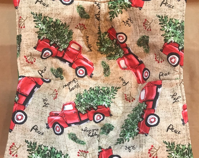 Microwavable bowl cozy, Red Christmas Truck, Picking out the Tree, Winter Quilted, reversible, pot holder, Soup Bowl, Ice Cram Bowl
