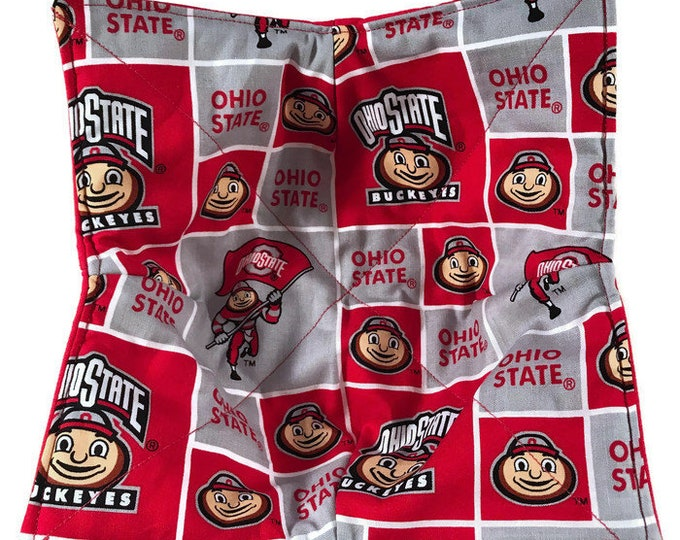 Microwave Bowl Cozy, The Ohio State University Buckeyes, hot pad, Quilted, pot holder, Soup Bowl, Ice Cream Bowl, Plate Cozy