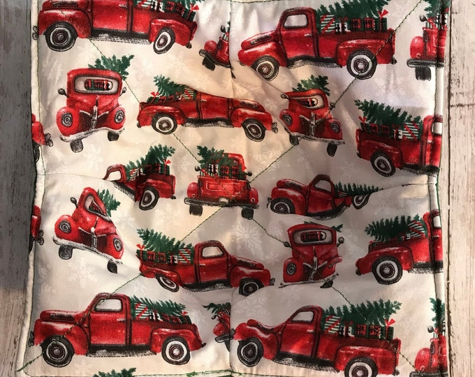 Microwavable bowl cozy, Red Truck Christmas, Winter Quilted, reversible, pot holder, cozy or trivet.