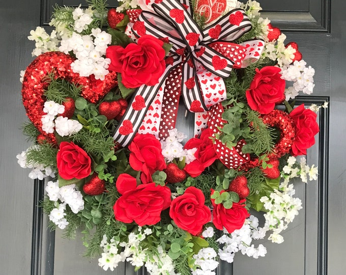 Valentine's Day Wreath, Door Hanging, Love, Wreath for Front Door, Spring Decor, Ready to Hang, Free Shipping