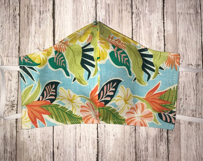 Cloth Face Mask, Tropical, Coastal Washable Face Mask, Quilting Cotton Novelty Reusable Dust Mask, Pollen Mask, Face Mask