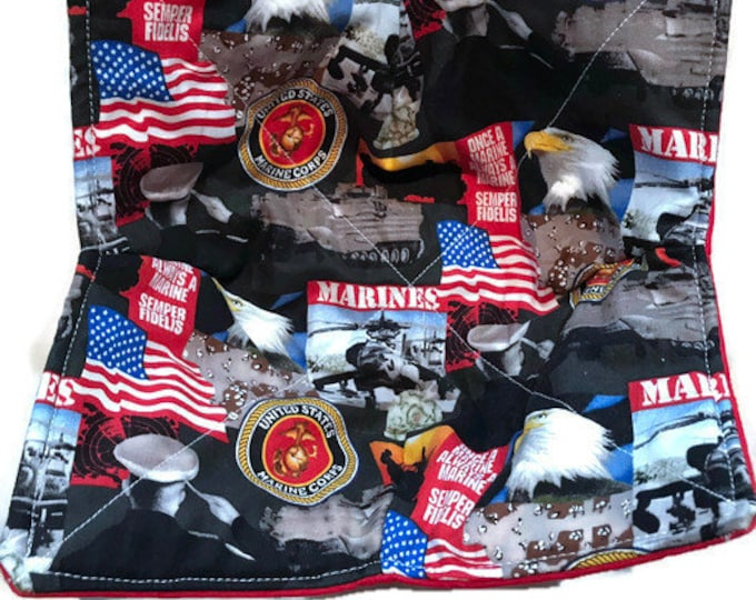 Microwavable bowl cozy, US Marine Corp, USMC, Quilted, pot holder, cozy or trivet.
