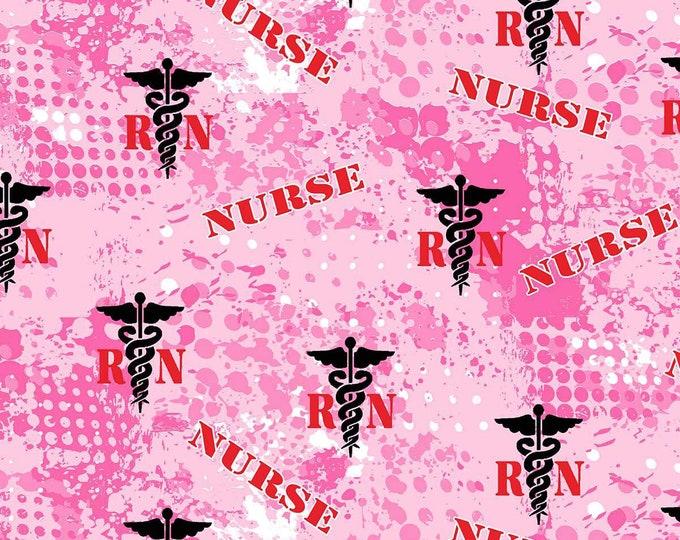 Nurse RN, 100% cotton novelty fabric,