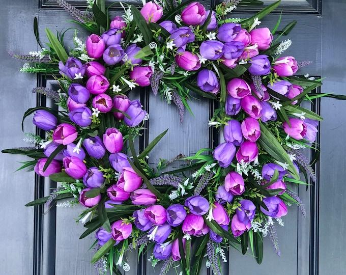 Purple Spring Tulip Wreath, Door Hanging,  Wreath for Front Door, Spring Door Decor