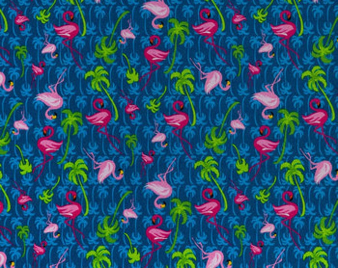 Blue Flamingo Tropics, Fabric by the Yard, 100% cotton Calico novelty fabric