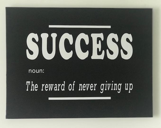 Success Noun Quote Wall Art Canvas Print, Inspirational, Motivational Office Decor, Home Decor