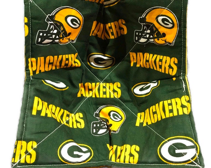 Microwave bowl cozy, Green Bay Packers, Quilted, reversible, pot holder, Soup Bowl, Ice Cream Bowl, Plate Cozy