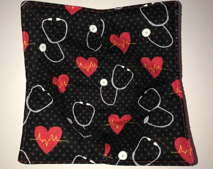 Microwave bowl cozy, First Aid, Nurse, Doctor, Quilted, pot holder, Soup Bowl, Ice Cream Bowl, Plate Cozy