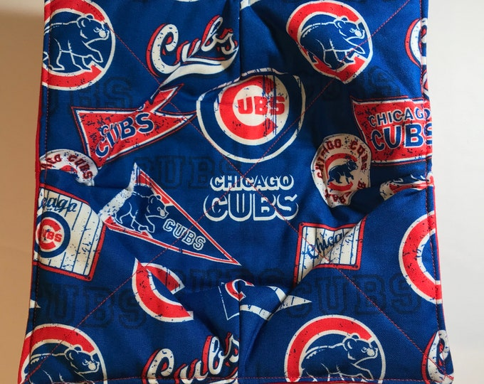 Bowl cozy microwavable, Chicago Cubs, MLB, hot pad, Quilted, reversible, pot holder, Soup Bowl, Ice Cream Bowl, Plate Cozy