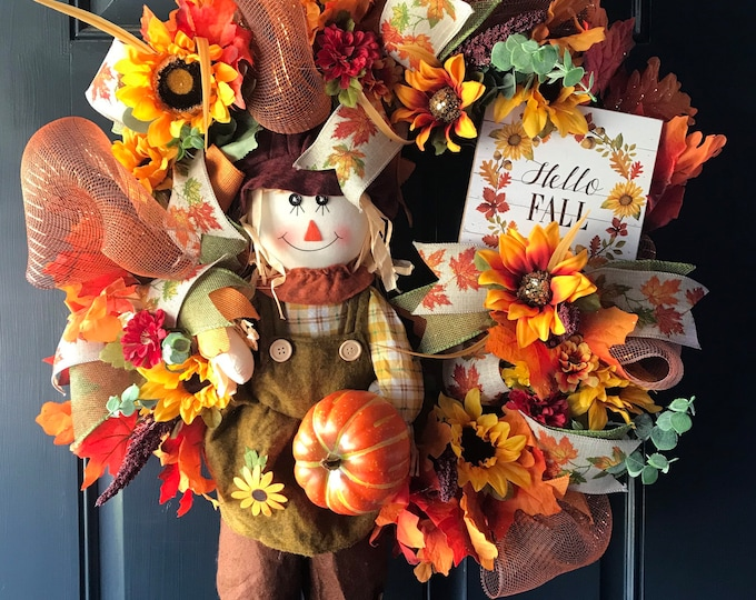 Hello Fall Autumn Wreath, Scarecrow Doll Fall Door Decor,  Autumn Wreath, Fall Door Hanging, Hello Fall Sign, Wreath for Front Door