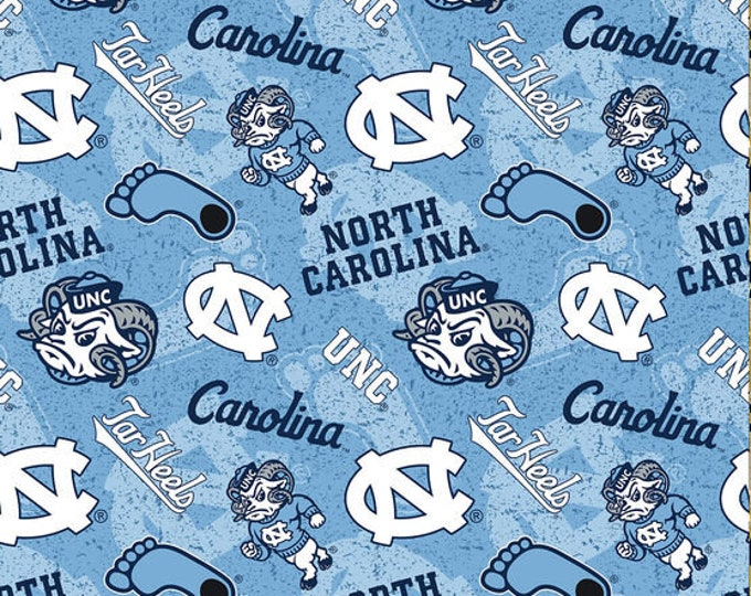 University of North Carolina Tarheels Tone on Tone -100% Cotton-Quilts-Home Decor-Licensed Fabric