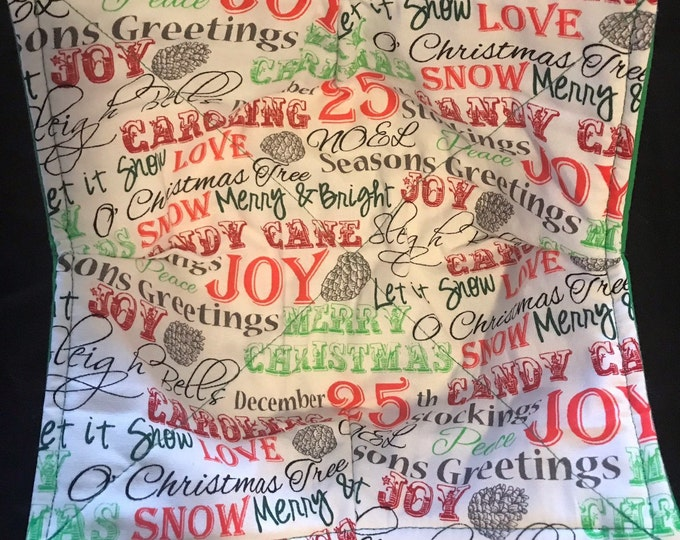 Microwavable bowl cozie, Christmas and winter quotes,  print, Quilted, reversible, pot holder, cozy or trivet.