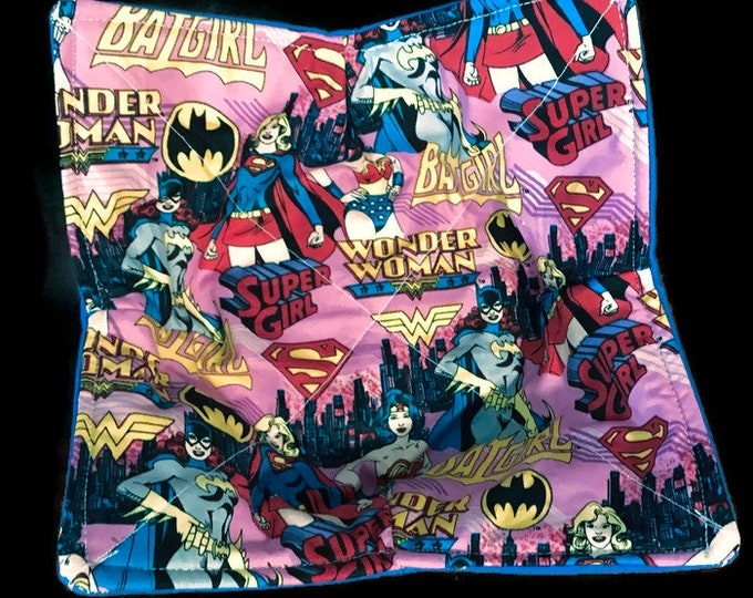 microwavable bowl cozy, Batgirl, wonder woman and catwoman, dc comics, Quilted, pot holder, cozie, hot pad or trivet.