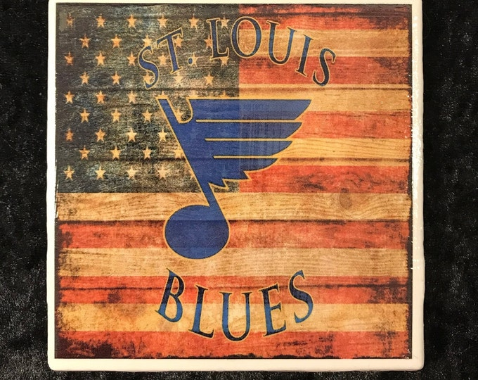 St. Louis Blues Coaster with American Flag/ Let's Go Blues/ Art/ Blue Note Fan/ NHL