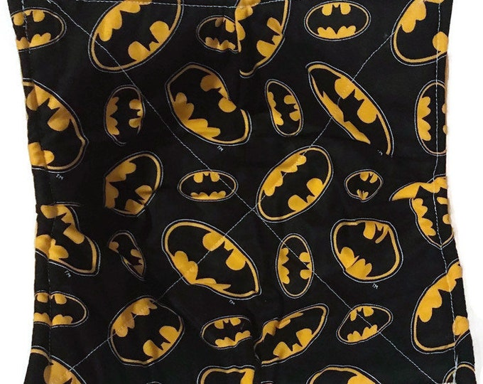 microwavable bowl cozy, batman,  Quilted, pot holder, cozy or trivet.