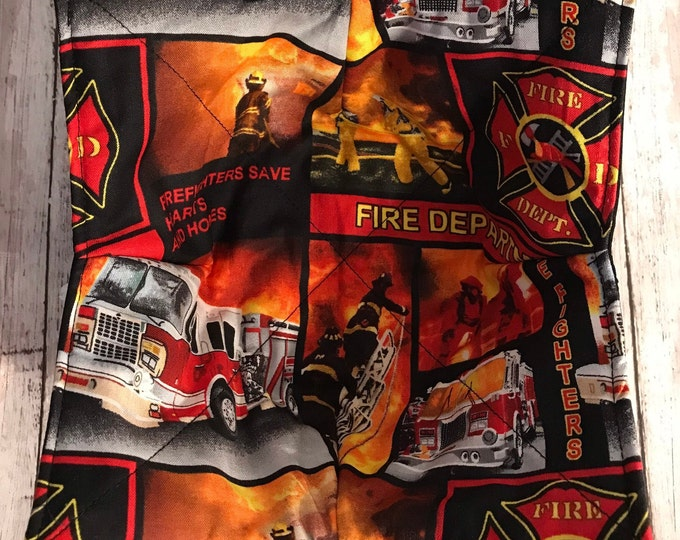 Microwave bowl cozy, First Responder Fire Fighter, Quilted, pot holder, Soup Bowl, Chili Bowl, 100% Cotton