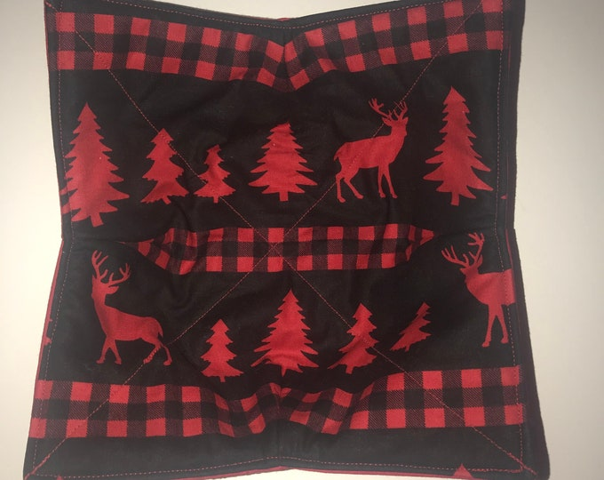 Microwavable bowl cozie, Red Deer Plaid, Winter Quilted, reversible, pot holder, cozy or trivet.