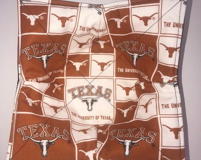 Microwave bowl cozy, University of Texas, Texas Longhorns Quilted, pot holder, soup bowl, plate cozy