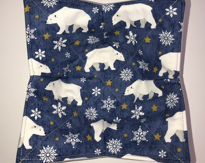 Microwavable bowl cozie, Wonder Bears, Winter Quilted, reversible, pot holder, cozy or trivet.