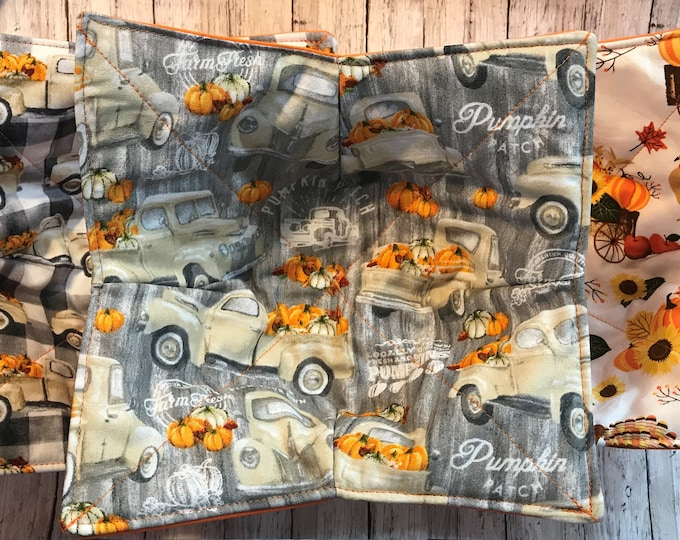 Microwave bowl cozy Fall White Truck, Thanksgiving, Autumn Scene Quilted, reversible, pot holder, soup bowl, plate cozy