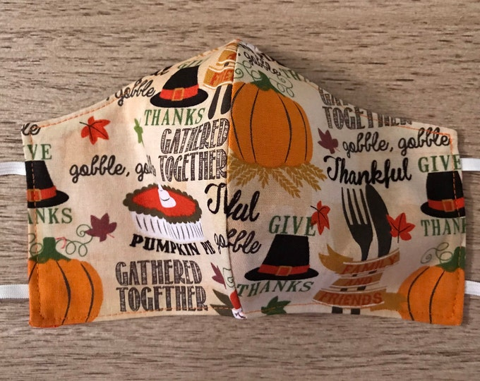 Face Masks, Thanksgiving and Fall Designs, Reusable Dust Mask, Pollen Mask, Cloth Face Cover, Reversible Face Cover, Holiday Prints