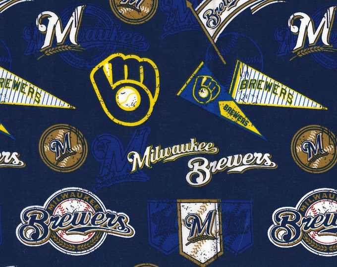Miwaukee Brewers Vintage Fabric Baseball MLB -100% Cotton-By Fabric Traditions-Quilts-Home Decor-Licensed Fabric