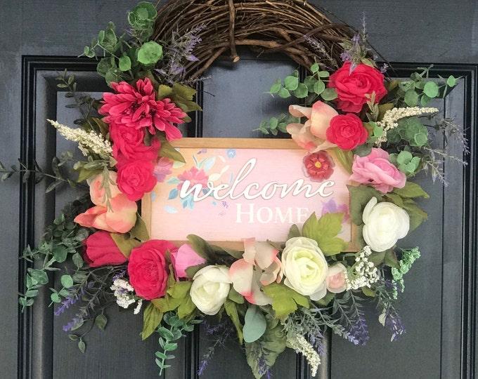 Welcome Home Spring Wreath, Door Decor, Seasonal Decor, Floral Wreath, Porch Decor