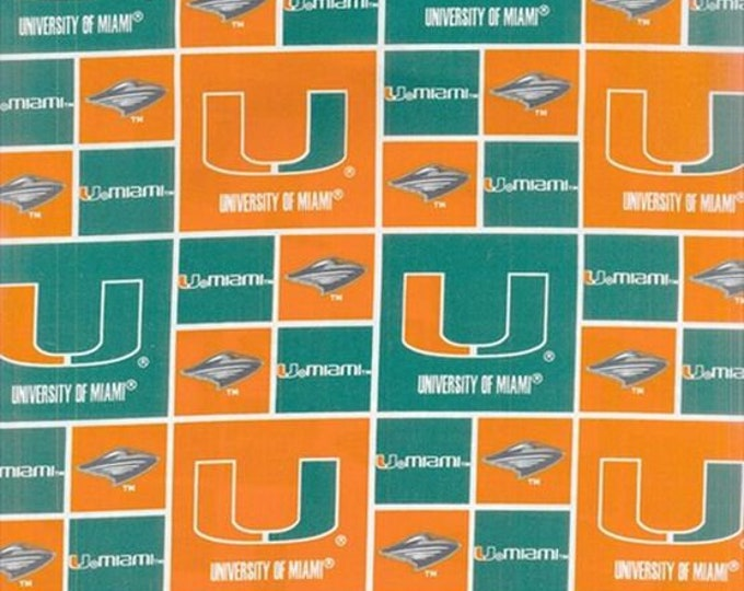 University of Miami Hurricanes Fabric -100% Cotton-Quilts-Home Decor-Licensed Fabric