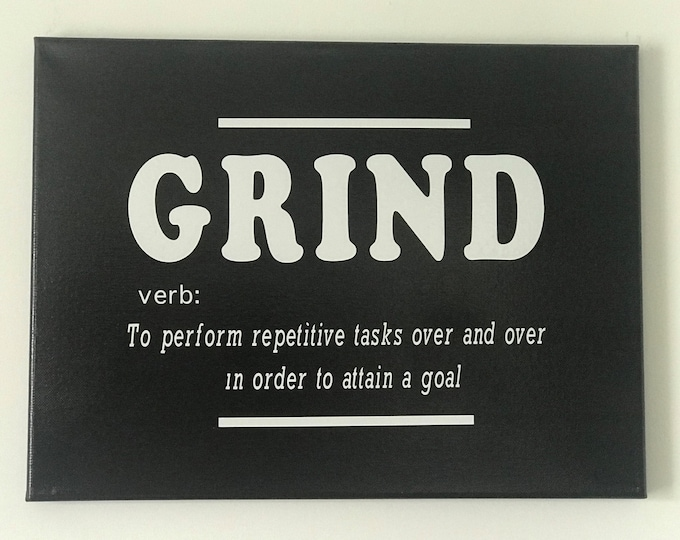 Grind Verb Quote Wall Art Canvas Print, Inspirational, Motivational Office Decor, Home Decor