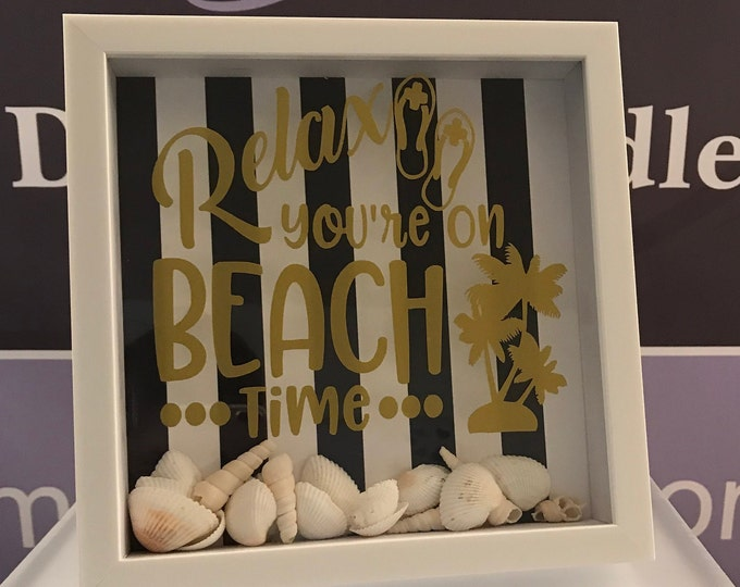 "Memory Shadow Box frame, "" Relax, you are on beach time""/Mother's Day/Home Decor/ valentine's day"