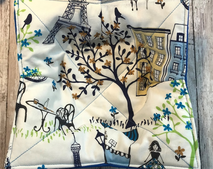 Microwave Bowl Cozy, Paris Stroll Blue, hot pad, Quilted, pot holder, Soup Bowl, Ice Cream Bowl, Plate Cozy