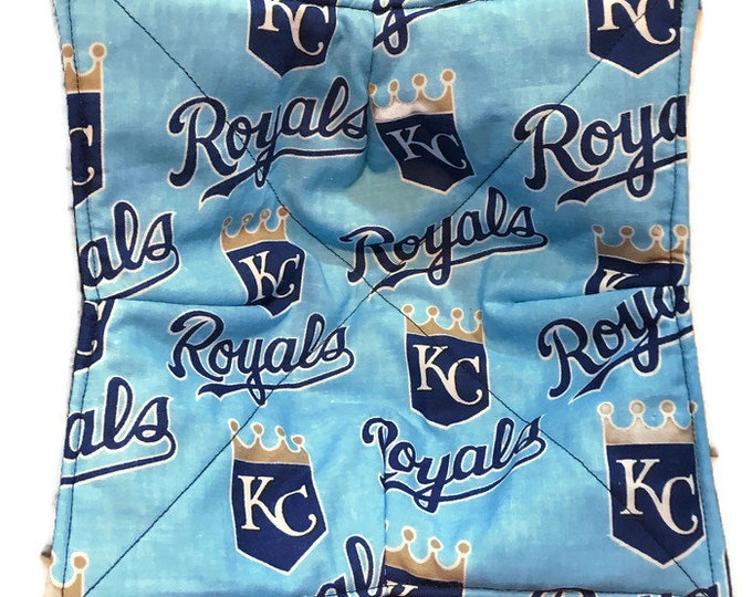 Microwave bowl cozy, KC Royals, hot pad, Quilted, reversible, pot holder, soup bowl, plate cozy