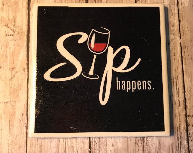 Wine Coasters/ Housewarming Gift/Wine Lover/Hostess/ Party Favor/Handmade/Coffee and Tea Coasters/Art/Tile Coasters