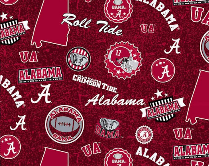 University of Alabama Crimson Tide Tone on Tone Fabric -100% Cotton-Quilts-Home Decor-Licensed Fabric