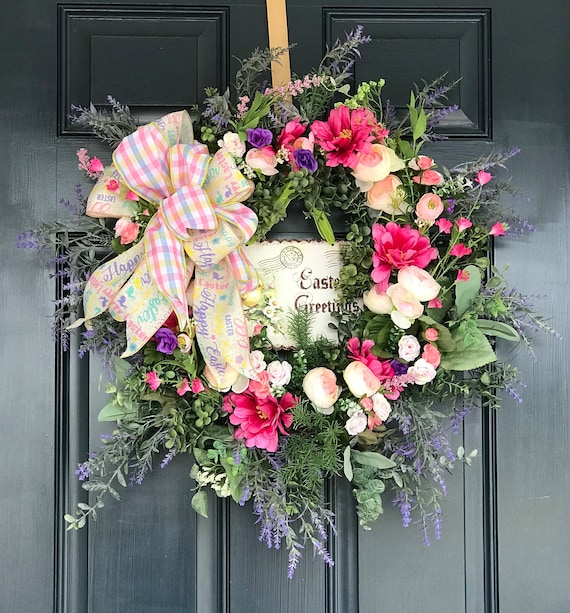 Easter Chic Spring Wreath, Spring Door Hanging, Whimsical Chic Happy Easter Sign, Wreath for Front Door, Spring Decor, Free Shipping
