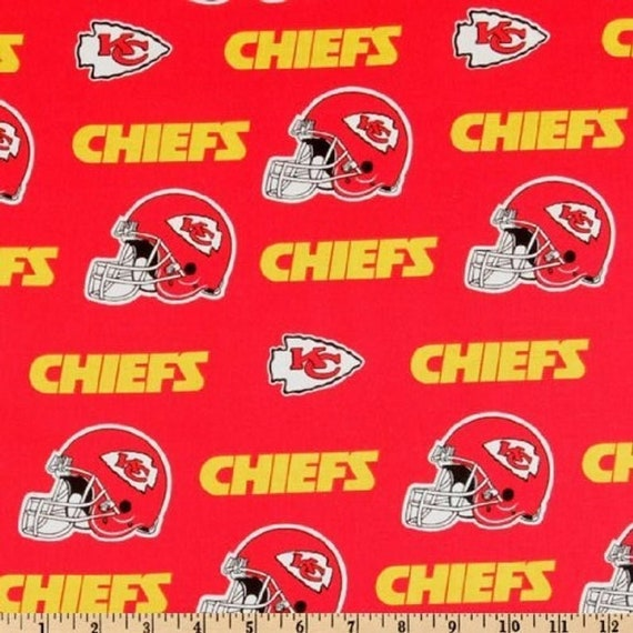 Kansas City Chiefs Fabric Football NFL -100% Cotton-By Fabric Traditions-Quilts-Home Decor-Licensed Fabric