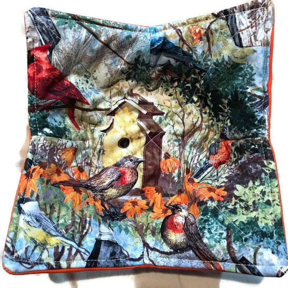 Bowl cozy microwavable, Bird House and Birds, hot pad,  Quilted, pot holder, cozie or trivet.