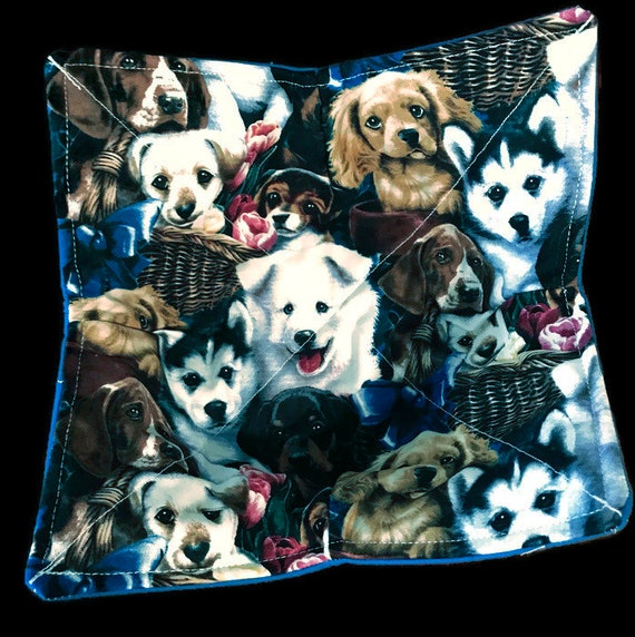 Microwavable bowl cozy, Puppy Basket, Quilted, pot holder, cozy or trivet.