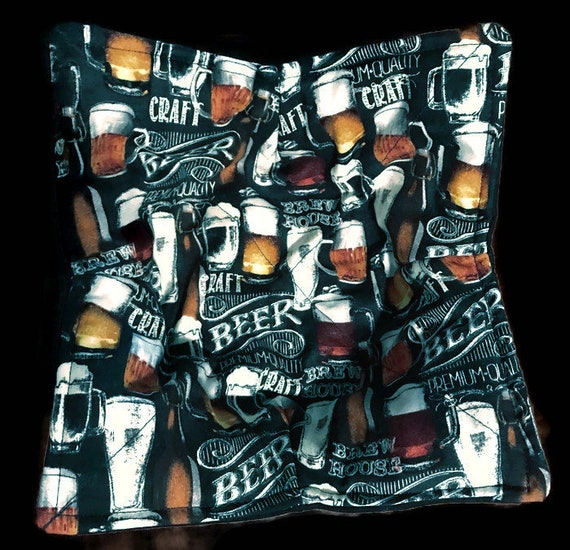 Microwavable bowl cozy, Beer Bottle Craft Beer Glass Quilted, pot holder, cozy or trivet.