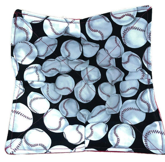Bowl cozy, microwavable, Baseball, Quilted, reversible, pot holder, hot pad or trivet.