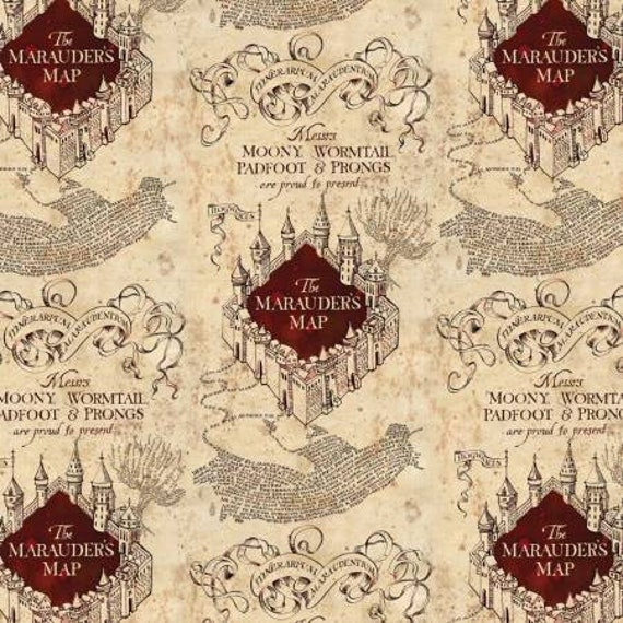 Marauder's Map Harry Potter-Cream- Moony, Wormtail, Padfoot and Prongs -100% Cotton-By Camelot Fabrics-Quilts-Home Decor-Licensed Fabric