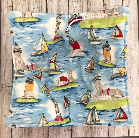 Microwave Bowl Cozy, Sailboats and Lighthouses, hot pad, Quilted, pot holder, soup bowl, plate cozy