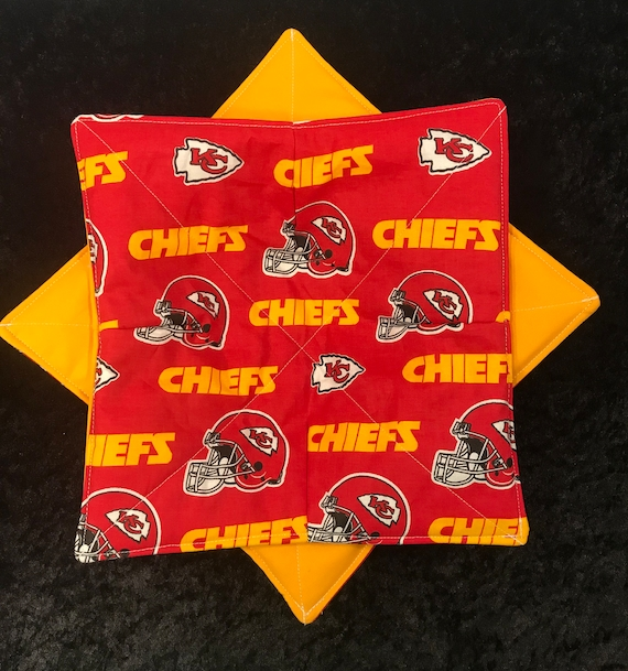 Microwave Bowl Cozy, Kansas City Chiefs NFL, Soup Bowl, Ice Cream Bowl, Plate Cozy,  hot pad, Quilted, reversible, pot holder,