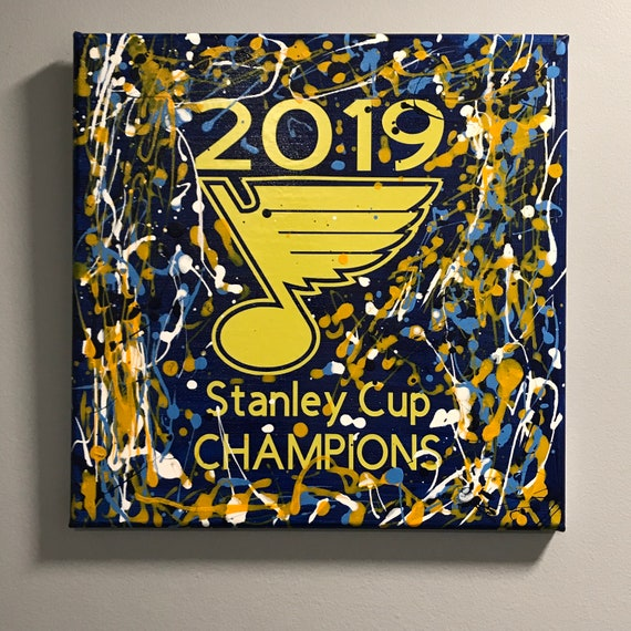 St. Louis Blues Stanley Cup Champions /Jackson Pollock Style Drip Art Abstract Painting Wall or Table  Original artwork acrylic painting