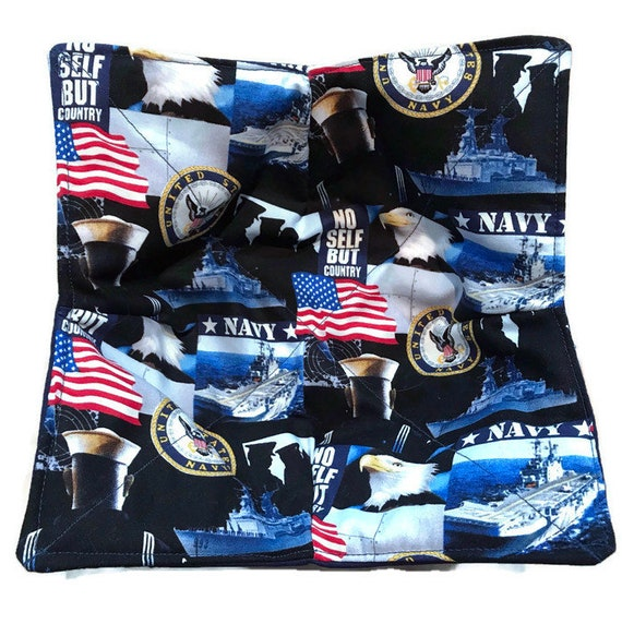 Microwavable bowl cozy, US Navy, Quilted, pot holder, cozy or trivet.