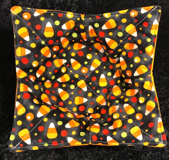 Microwavable bowl cozie, Thanksgiving, candy corn, halloween, Fall, Quilted, reversible, pot holder, cozy or trivet.