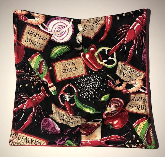 Bowl cozy microwavable, cajun gumbo, shrimp, etoufee, Quilted, pot holder, cozie, hot pad or trivet.