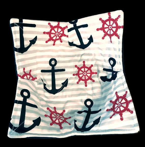 Microwavable bowl cozy, Anchor, Nautical, Quilted, pot holder, cozy or trivet.