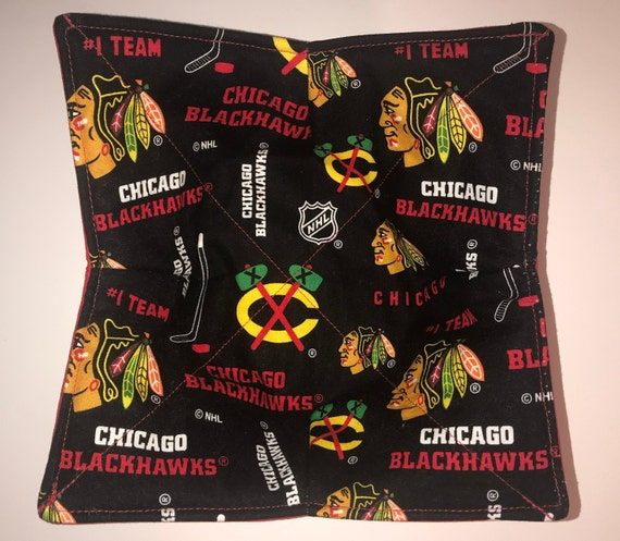 Bowl cozy microwavable, Chicago Blackhawks NHL, hot pad, Quilted, reversible, pot holder, Soup Bowl, Ice Cream Bowl, Plate Cozy
